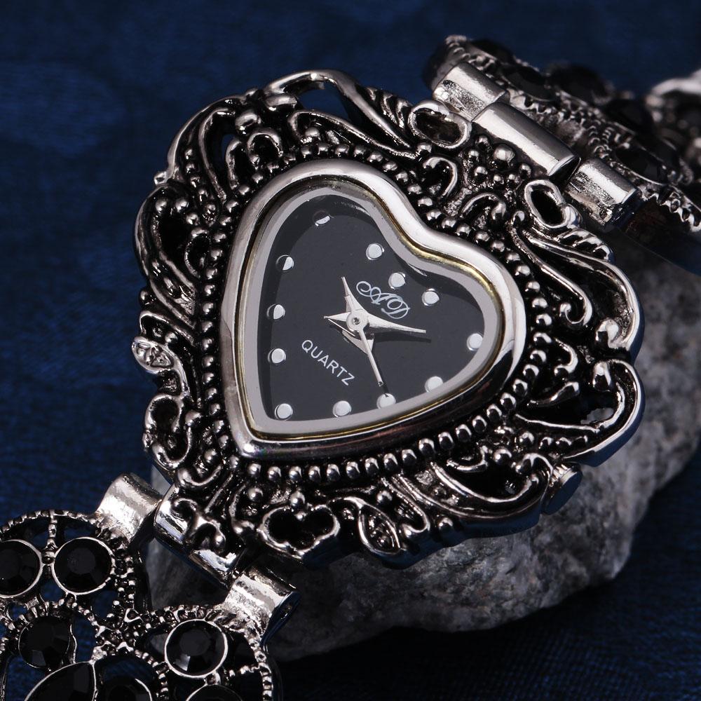 Classic Black Steel Relogio Femilino Luxury Brand Crystal Jelly Bracelet Watch Women Vintage Dress Party Women's Watches Sport