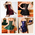 instyles free shippingfree instyles Sexy Burlesques Corset Party Elegart Dress Basques Mini Skirt Lingerie Costumes Set 2162 S M