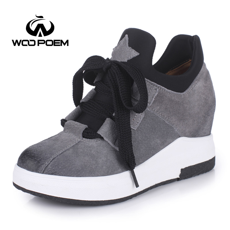 WooPoem Spring Autumn Shoes Women Breathable Pigskin Pumps High Heels Wedges Shoes Fashion Platform Women Pumps W17H112W siketu 2017 free shipping spring and autumn high heels shoes fashion women shoes wedding shoes rhinestones jobs pumps g060