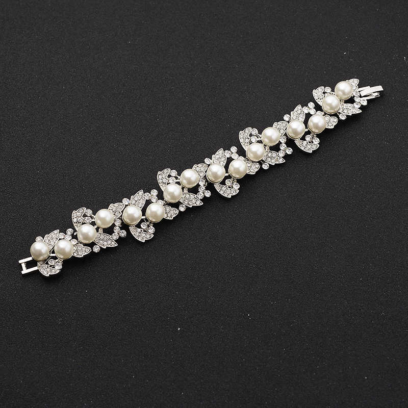 SLBRIDAL Gorgeous Vintage Silver Clear Crystal Wedding Bracelet Rhinestones Pearls Leaf Bridal Bracelet Bridesmaids