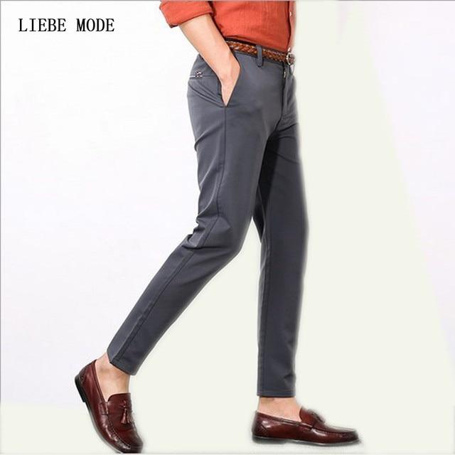 bcb1c2add284 Mens Dress Suit Pants Men Business Pants For Men Formal Office Wear  Trousers Ankle Length Black Grey Plus Size Pantalon Homme