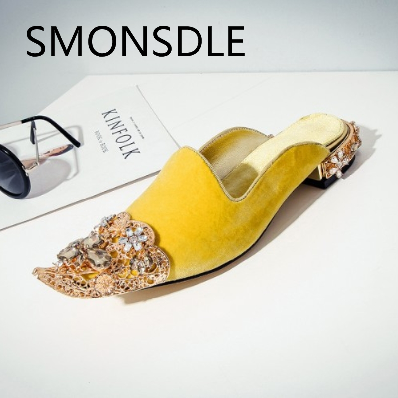 2018 Summer Retro Women Pointe Toe Crystal Slippers Black Red Yellow Genuine Leather Outside Ladies Mules Shoes Big Size 35-43 protective silicone soft back case w screen protector stylus cleaning cloth for iphone 5 red