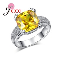 JEXXI Yellow Cubic Zirconia Crystal Fashion Design 925 Sterling Silver Women Wedding Jewelry Promise Ring Wholesale