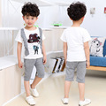 2016 New Personality Boy Two Piece Suit For Children Summer Checked Children's Clothes Shirt Baby Boys