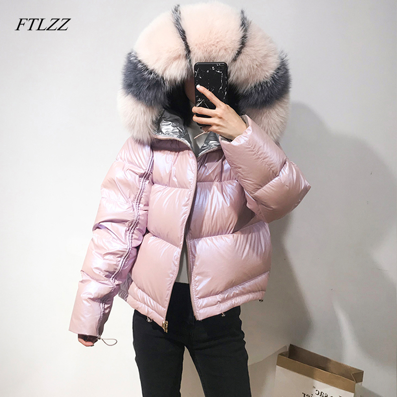 FTLZZ 2019 Winter Jacket Women Real Fur   Coat   Natural Fox Fur Collar Loose Short   Coat   Sliver White Double Sided Duck   Down   Jacket