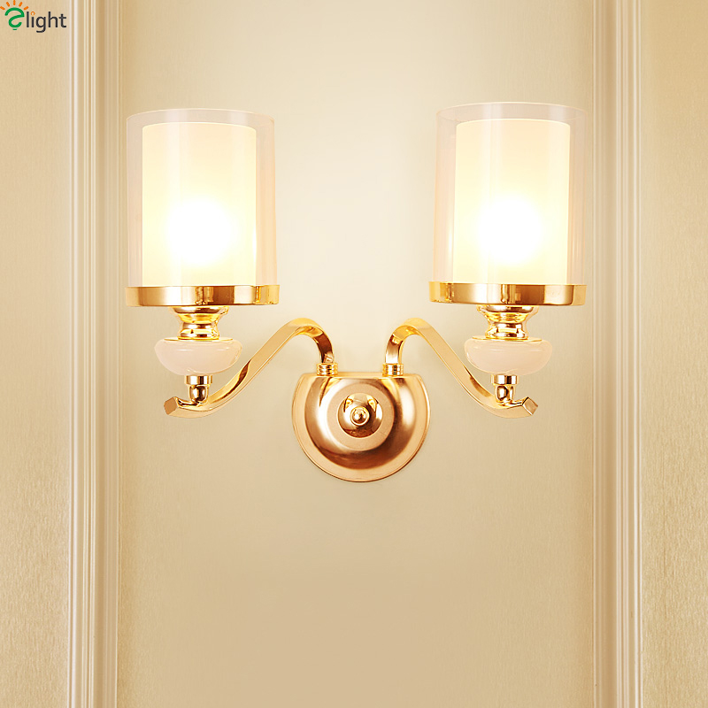 Modern Gold Metal Led Wall Lamp Marble Glass Bedroom Led Wall Lights Fixtures Living Room Led Wall Light Corridor Wall Sconce modern chrome metal led wall lamp lustre crystal living room led wall lights fixtures glass bedroom led wall light wall sconce