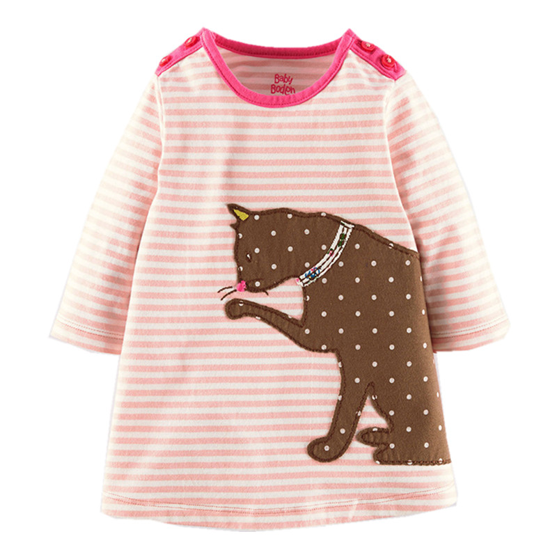 Little Maven Brand New Girls Autumn Spring Long-sleeved O-neck Fashion Striped Cartoon Cat Cotton Cute Casual Dresses little maven brand new girls autumn spring long sleeved o neck fashion rabbits printed cotton cute casual dresses