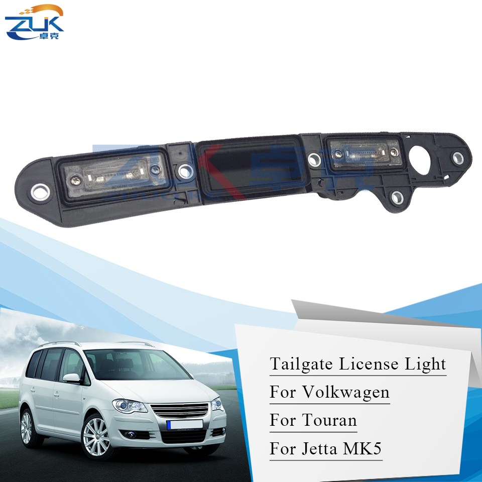 ZUK Rear Door Tail Gate Handle License Light For VolksWagen For TOURAN 03 10 For Golf Plus 05 09 For Passat B6 C3