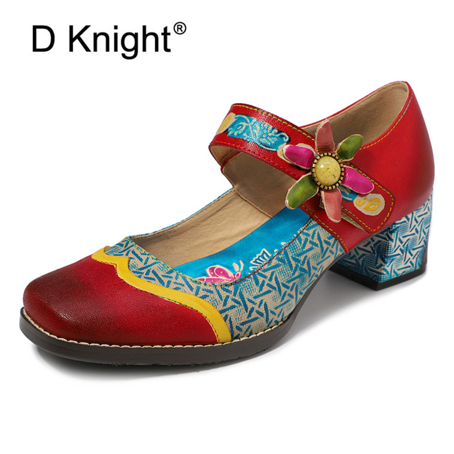 البوهيمي المرأة مضخات أحذية خمر الربيع الصيف جلد طبيعي ماري جينس السيدات أحذية اليدوية كتلة عالية الكعب أحذية امرأة-في أحذية نسائية من أحذية على  مجموعة 1