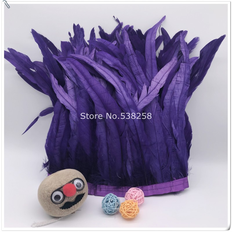 New arrive purple 2m/lot 12 14inches 30 35cm height Coque Tail Fringes Rooster feather trim rooster tail trimming ribbon