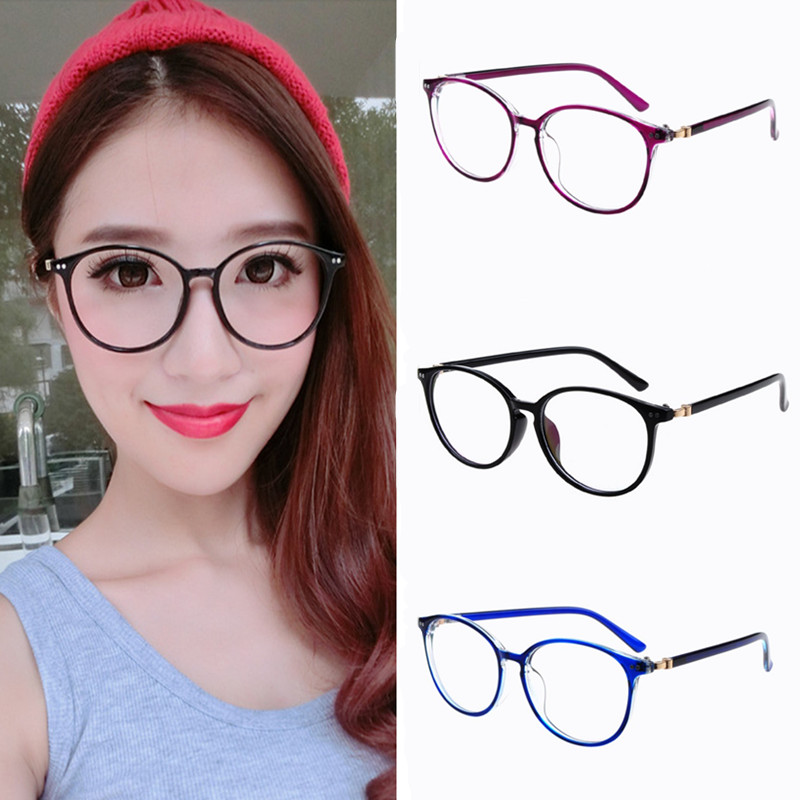 2018 New Women Round Oval Eyeglasses Glasses Frames High Grade Light Weight Solid Color Spectacles Plain Glasses Vintage Retro