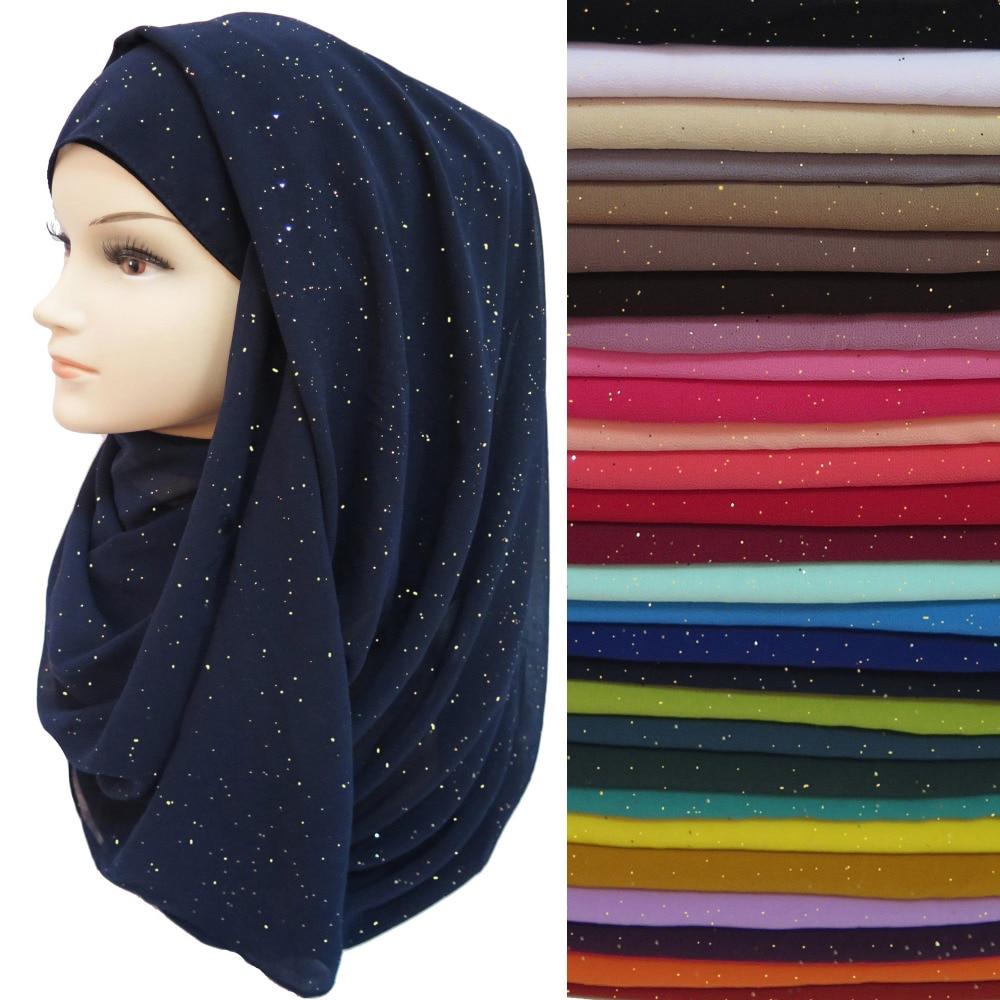 20pcs/lot Glitters Shimmer Bubble Chiffon Women's Scarf Muslim Hijab Shawl Head Wrap Solid Color