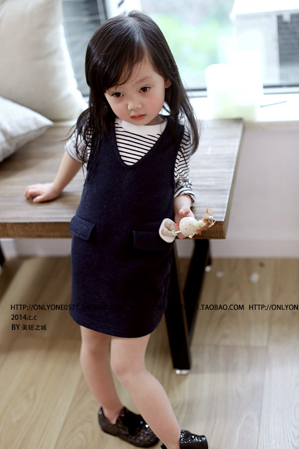2 Color Girls Baby Stripe Long sleeve T-shirt + cowboy Braces dress Suit Children 2 pcs set wholesale