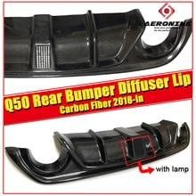 Fits For Infiniti Q50 Rear Bumper Lip Spoiler Diffuser True carbon fiber with LED brake light 2018-in