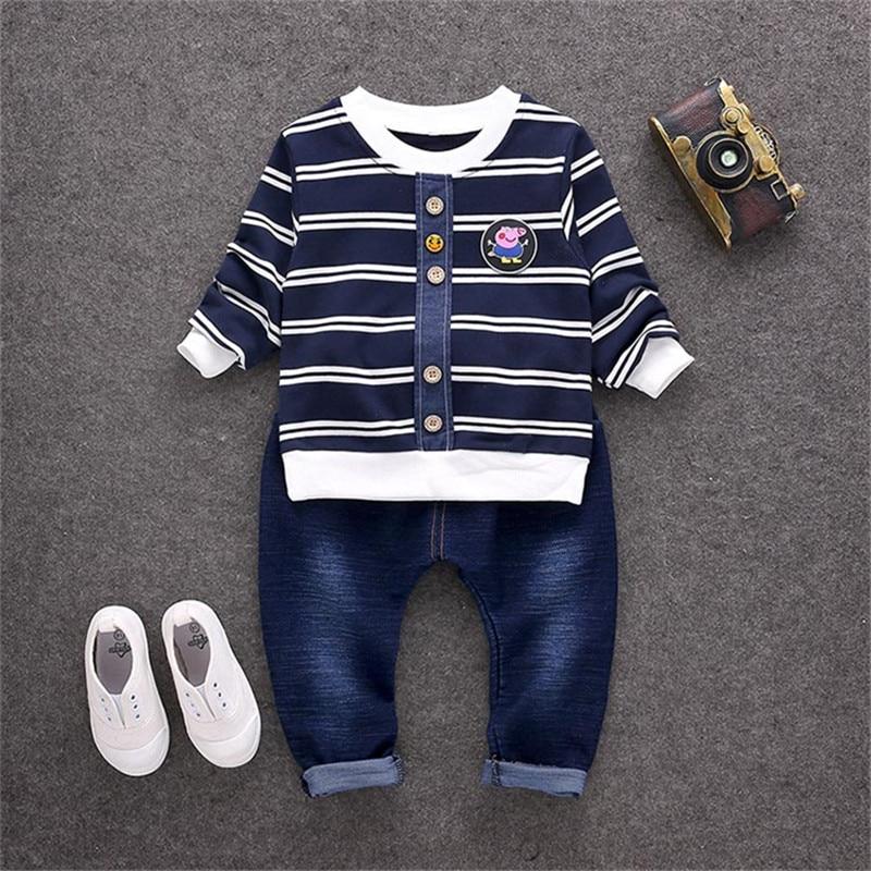 BibiCola baby boy clothes sets spring autumn toddle boys 2pcs set striped cartoon T-shirt +Pants suit kids boys fashion suit