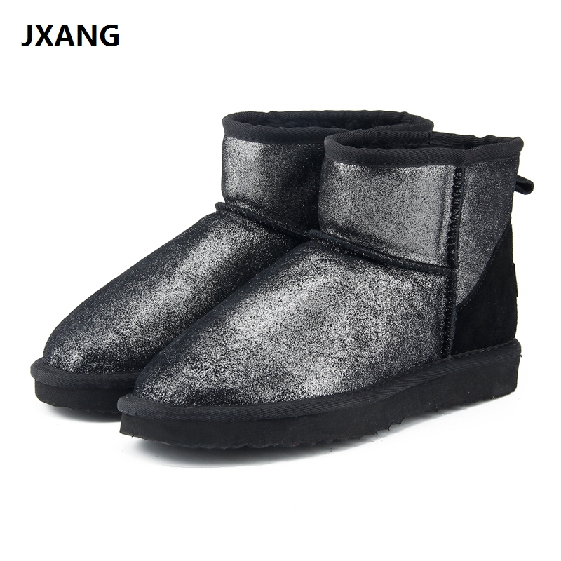 JXANG New Fashion Women snow boots 100% Genuine Leather women Boots warm waterproof winter boots ankle boots Free Shipping jxang fashion thick natural fox fur snow boots women boots 100% real leather waterproof winter warm snow boots ankle boots