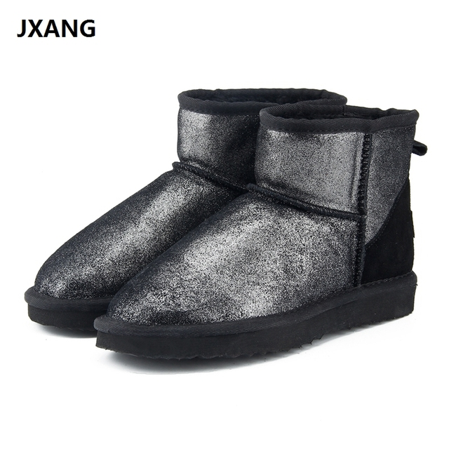 JXANG New Fashion Women snow boots 100% Genuine Leather women Boots warm  waterproof winter boots ankle boots Free Shipping 45e8f0116e67