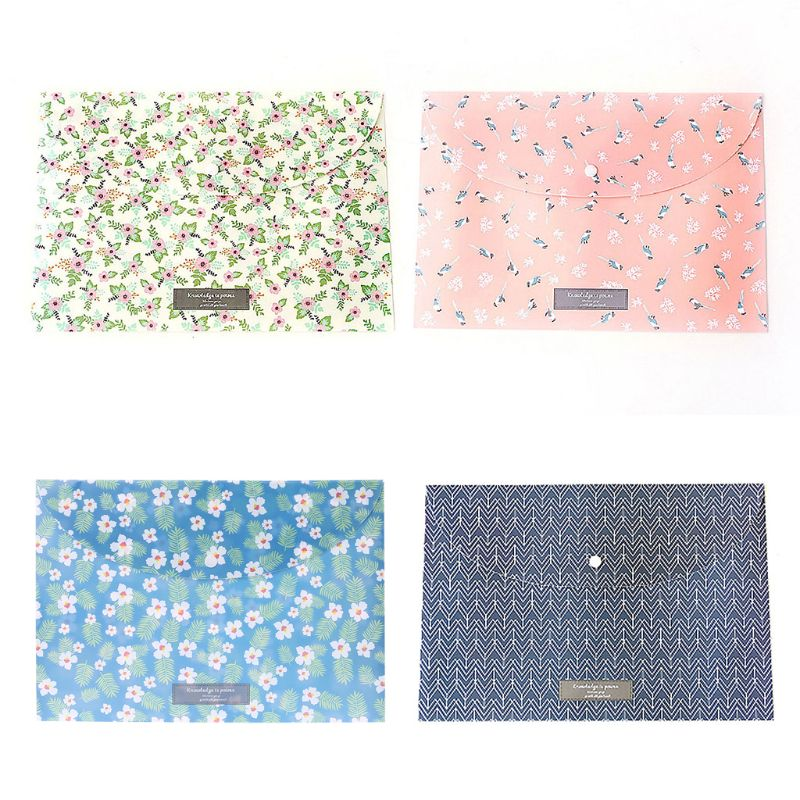 33.5cm * 23cm Durable Folder Snap Floral File Bag Paper A4 School Stationery Office Supplies