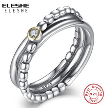 ELESHE Engagement Wedding Accessories Cubic Zirconia Twist Ring & Ring Sets 925 Sterling Silver Rings For Women Bridal Bijoux