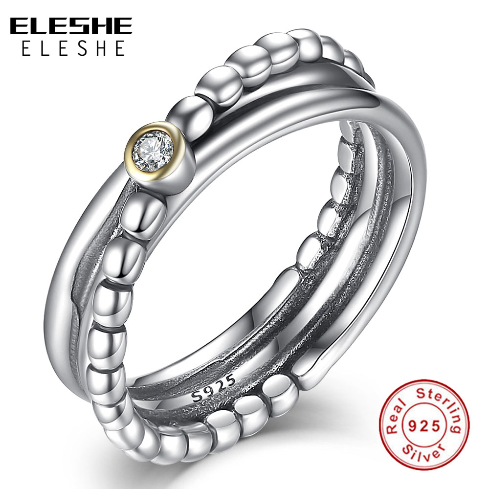 ELESHE Engasjement Bryllupstilbehør Cubic Zirconia Twist Ring & Ring Sets 925 Sterling Silver Rings For Women Brud Bijoux