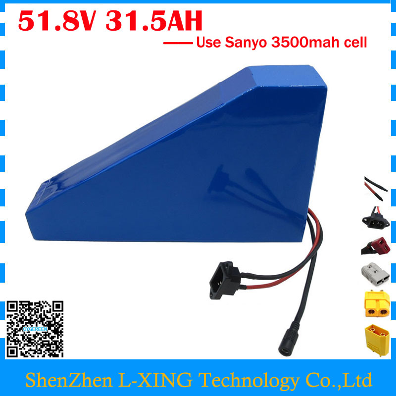 Free customs duty 51.8V 31.5AH Electric bike battery 52V 31.5AH triangle battery with bag use NCR18650GA 3500mah cell 30A BMS free customs duty new arriver triangle battery pack lithium battery 48v 10ah electric bike battery with bms free bag and charger