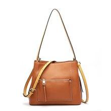 ebd8e166d8 2018 New Desinger Panelled Strap Shoulder Bag 100% Genuine Leather Women  Handbag Soft Bucket Bag Ladies Crossbody Messenger Bag