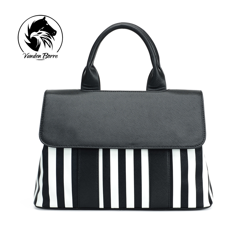 New brand fashion women handbags Striped Panelled Casual Tote bag PU leather wom