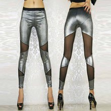 c9200531728 Gold Silver Mesh Insert Solid Leggins Club Style Patchwork Sheer Crop Pants  Women Autumn Steampunk Gothic