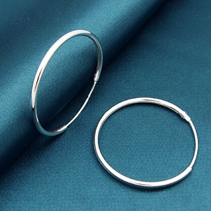 20mm/30mm/40mm/50mm/60mm Big Round Circle Basketball Wives Real 925 Sterling Silver Hoop ...
