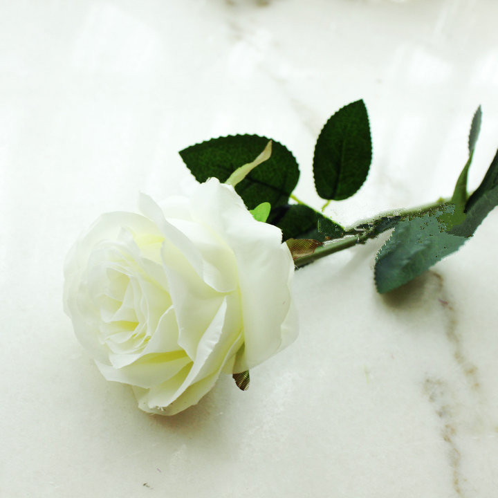 Natural white single stem silk roses for wedding party home natural white single stem silk roses for wedding party home decoration valentines day gift in artificial dried flowers from home garden on mightylinksfo