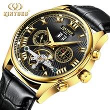 Kinyued מכאני שעון גברים אוטומטי Tourbillon מתפתל שחור יד שעונים שלד זכר רצועת עור עמיד למים שעוני יד