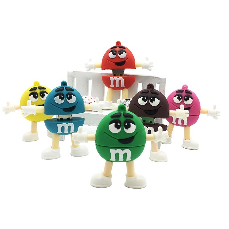 Memory Stick Pen U Disk Promotion price Cute Cartoon M&ms Chocolate M Bean 4gb/8gb/16gb/32gb Usb Flash Drive Pendrive 8gb 16gb