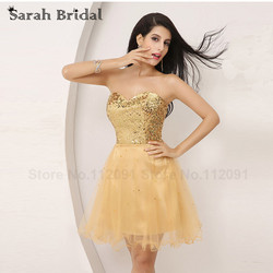 Cheap in stock gold homecoming dresses with sequined 2017 short cocktail gala dress lace up sweetheart.jpg 250x250