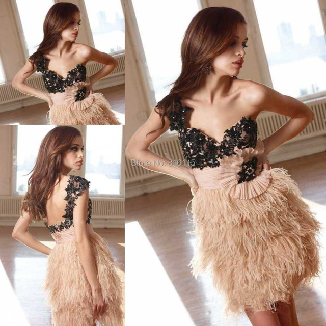 New Arrival Glamours Sexy Open Back Short Fashion Lace Applique Feather Cocktail Dress Women Free Shipping