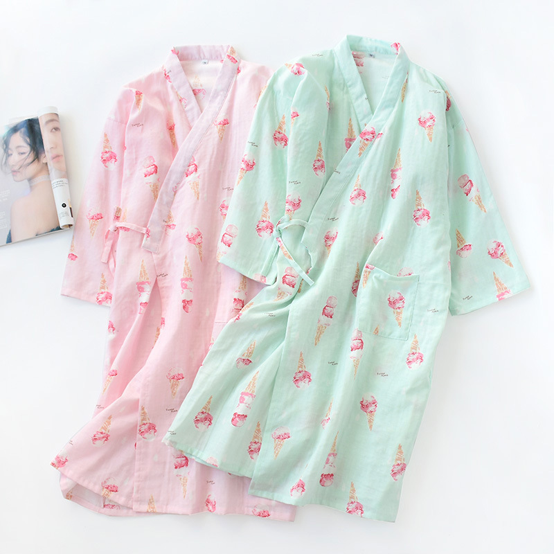Women's Yukata Cardigan Gown Thin Kimono Robe Pajamas Cotton Japanese Dress Ice Cream Nightgown Sleepwear Bathrobe Leisure Wear