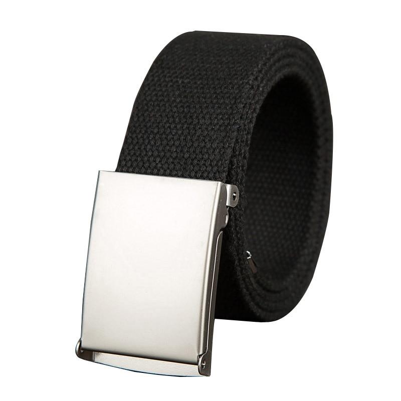Fashion Men Women General Belts Canvas Unisex Candy Color Belt Solid Buckle Military Belts For Jeans Cowboy Pants 110--140cm