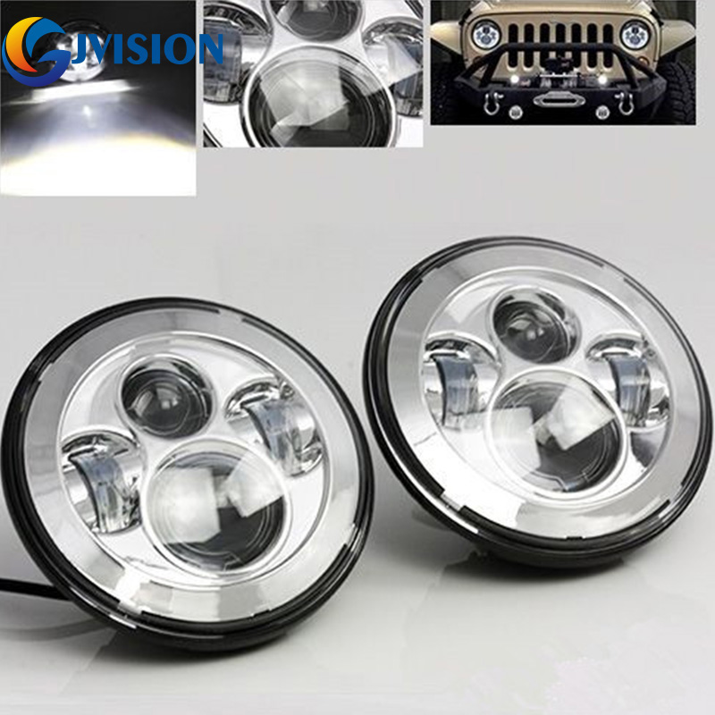 Silver 7'' Round led headlight for Jeep Wrangler 97-15 JK CJ TJ Hummer Land Rover Defender harley Davidson Motorcycle headlamp усилитель руля насос для land rover defender 07 ld90 15 внедорожник 2 4 td4 oem lr009817 новый