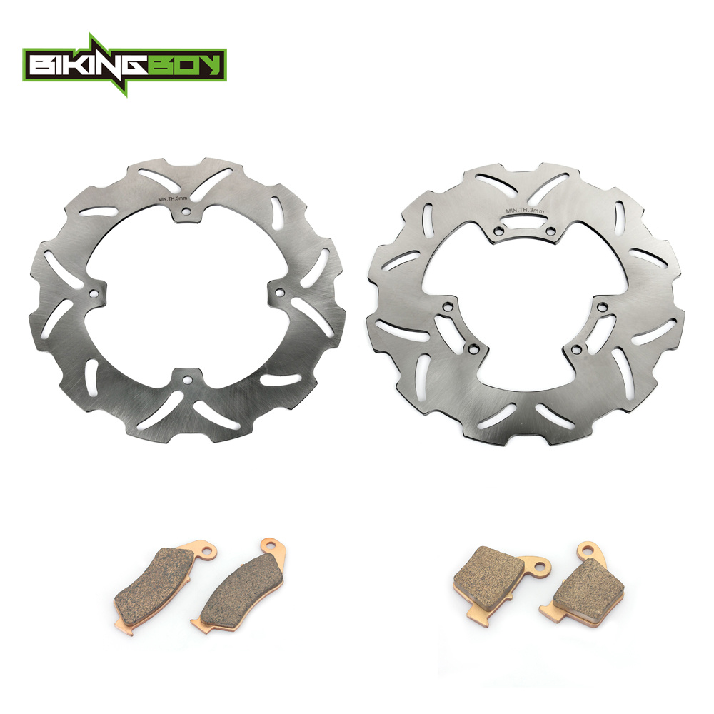 BIKINGBOY Motocross Front Rear Brake Disk Disc Rotor Pad for HONDA CRF250R CRF250X CRF450R CRF450X CRF250 CRF450 R X 02-17 16 15 2 pieces motorcycle front disc brake rotor scooter front rear disc brake rotor for honda cb400 1994 1995 1996 1997 1998