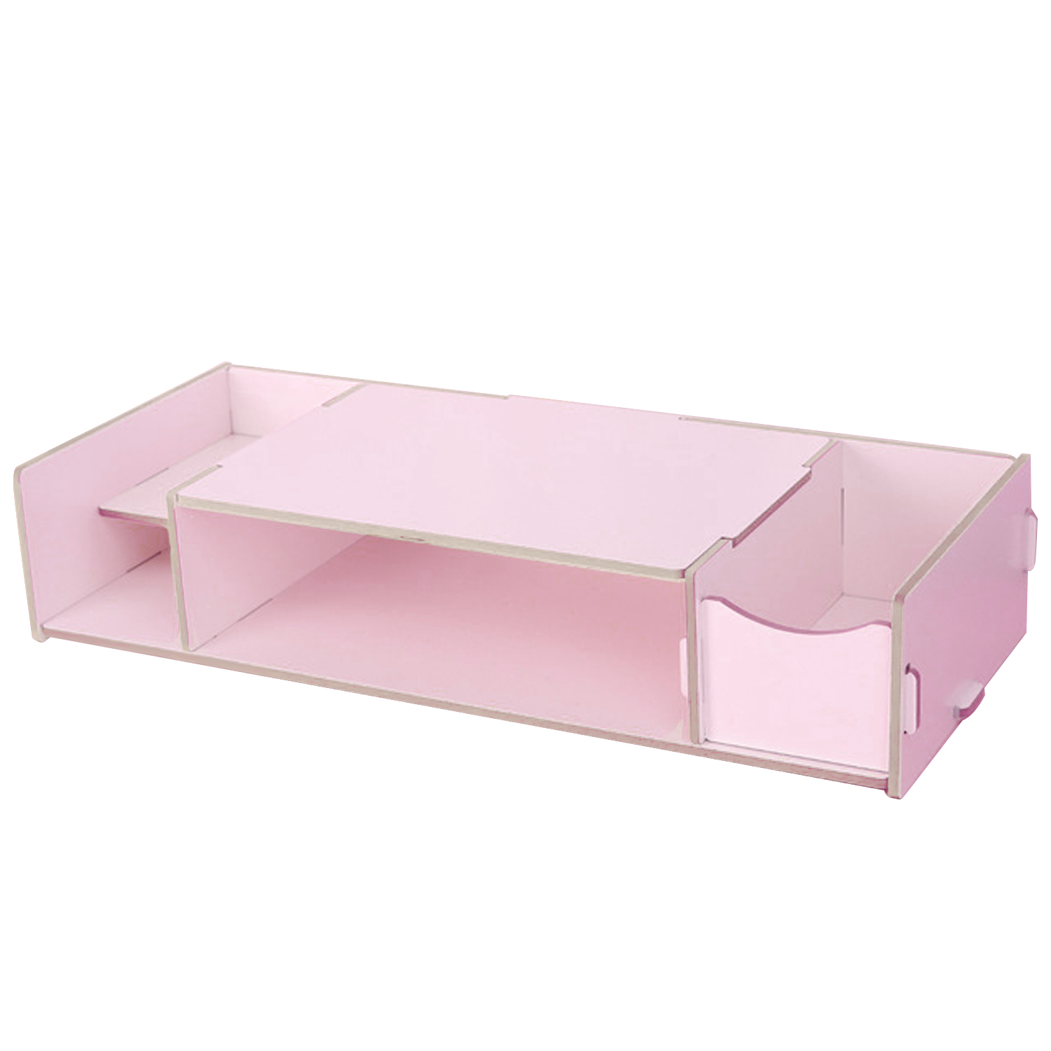 Eco-Friendly Desk Computer Display Monitor Keyboard Riser Stand Placement Organizer Shelf with Storage Slots for Files Note Books Office Supplies Pink