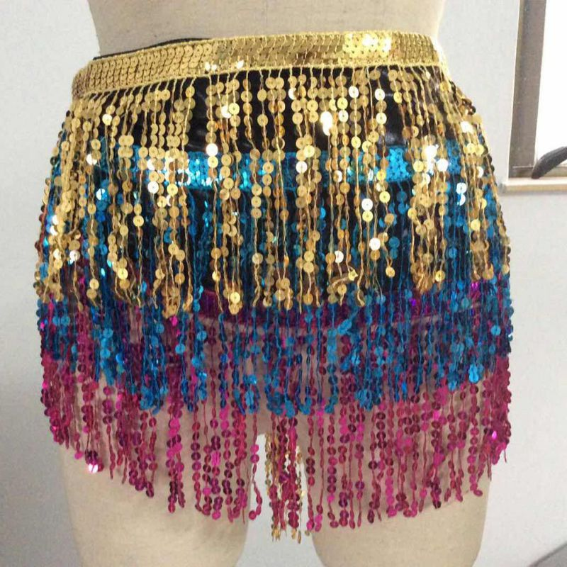 Rainbow Belly Dance Belt Samba Carnival Costumes Exotic Dancewear Hip Scarf Gypsy Tribal Belly Dancing Tassel Fringe Belts