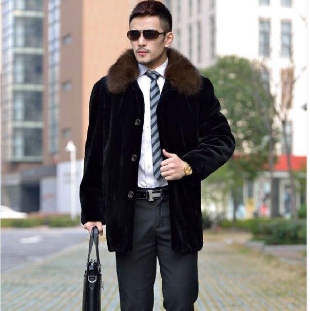 2017 Winter Leather Men's Jacket Turn-down Collar Faux Fur Coats Business Formal Long Overcoat Full Mink Fur Outerwear XL683
