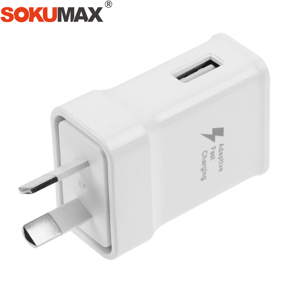 SOKUMAX Real Fast Charge AU Plug USB Wall Home Quick Charger Charging Power Adapter For Samsung Galaxy S8 S9 PLUS IPhone X 8 7 6