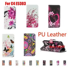 Абстрактный Deluxe Кожа Pu Leathe флип Filp окрашены кошелек Wallt девушка сумка Etui для Sony Xperia C4 E5303 двойной E5333 цветок