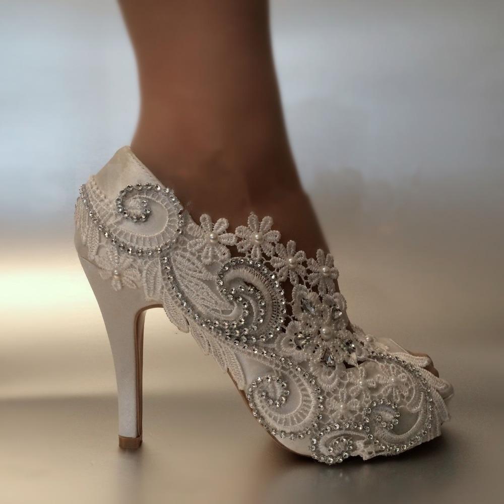 ФОТО New arrive 8cm/10cm high heel fish toe white lace Bridal shoes women Pumps Girl's  Party dress shoes Peep toe