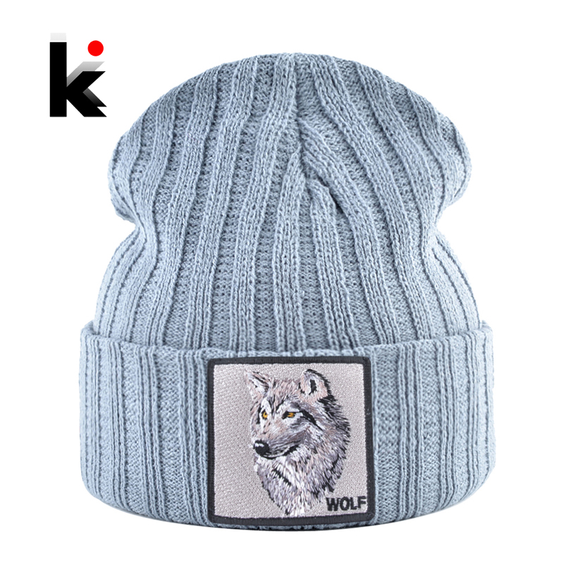 Men's Beanie With Wolf Patch Autumn Knitted Skullies Caps Women Winter Soft Knit Bonnet Beanies Fashion Hip Hop Gorras Hats