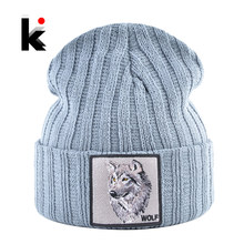 Mannen Beanie Met Wolf Patch Herfst Gebreide Skullies Caps Vrouwen Winter Soft Knit Bonnet Mutsen Mode Hip Hop Gorras hoeden(China)