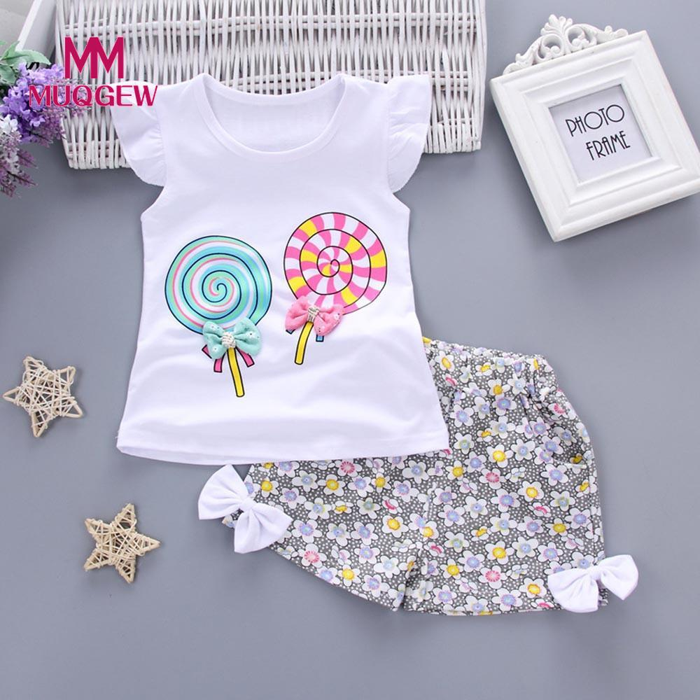 2018 new arrival summer children clothing 2PCS Toddler Kids children Girls Outfits Lolly T-shirt Tops+Short Pants Clothes Set b a1785 new fashion 3 13t kids baby girls clothes set summer children short sleeve t shirt tops skirt 2pcs kids outfit suit