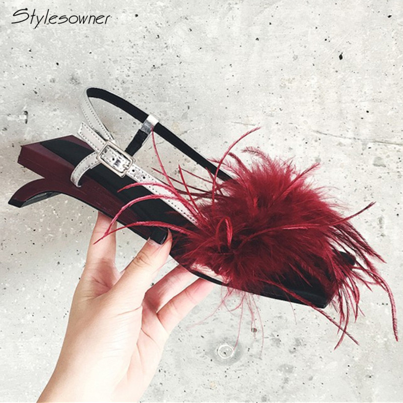 Stylesowner 2018 New Arrival Genuine Leather High Heels Sandals Strange Heels Soft Feather Party Shoes Summer Sweet WomenSandalsStylesowner 2018 New Arrival Genuine Leather High Heels Sandals Strange Heels Soft Feather Party Shoes Summer Sweet WomenSandals