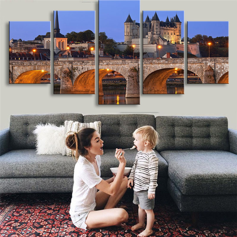 Modular Canvas Wall Art Painting For Living Room 5 Pieces Castle Tower Bridge France River Landscape Pictures HD Printed Poster ...