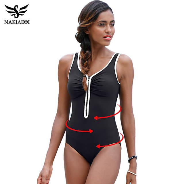 428e8b000a placeholder NAKIAEOI One Piece Swimsuit 2018 New Plus Size Swimwear Women  Vintage Bathing Suits Summer Beach Wear